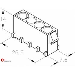 UP-Lok 4pol żeńska PCB 2210410
